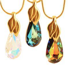 "Ardent Dew Drop Necklace (16"" - Goldplated - Aurora Borealis) Women's"
