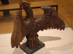 """From the Philadelphia Museum of Art's exhibit """"Drawn with Spirit: PA German Fraktur from Joan & Victor Johnson Collection.""""  Back side view of a Schimmel eagle."""