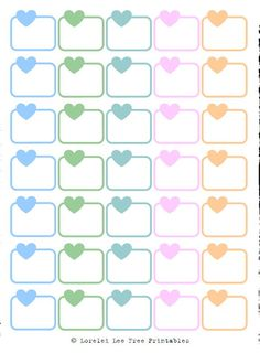 Half Boxes Heart - Pastel Colors - Free planner printables