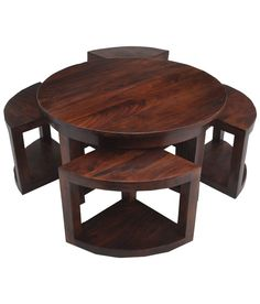 Nesting Coffee Table in Brown Fabindia Furniture, Indian Furniture, Curve Design, India Art, Round Coffee Table, Nesting Tables, Window Design, Living Room, Brown