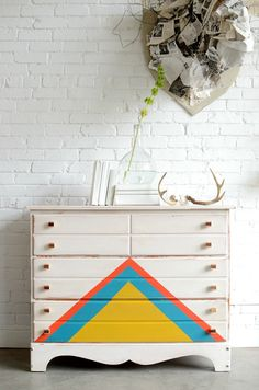 """Painted, white dresser with triangle detail : """"Enfys"""""""