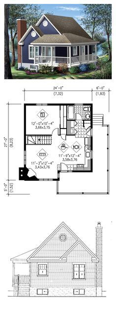 Narrow Lot House Plan 49824   Total Living Area: 613 sq. ft., 1 bedroom & 1 bathroom. This cottage has a stylish look with its large veranda, decorative moldings and sprockets. It measures 24 feet wide by 27 feet deep and has a surface area of 613 square feet. This haven of tranquility has a combination kitchen and dining room and a living room with corner fireplace. #houseplan #narrowlot