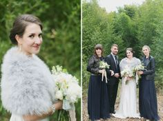 fur throw for bride / leather jackets for bridesmaids