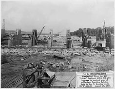 Started building Dam number 10 on 08/15/1935 .Public Works Administration Project, Army Corps of Engineers, in Gulkinberg Iowa, Dams under construction, Upper Mississippi River Navigation Improvement.