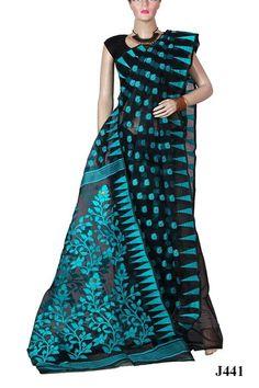 Designer Black Indian Jamdani Saree (J441)