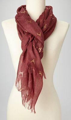 Red & Gold Antlers Scarf