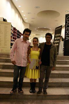 Raúl Fuentes, Andrea Portal y Tonatiuh Trejo, después de la presentación de Perdiendo el tiempo.