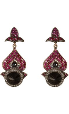 Sevan Bicakci Black & White Diamond & Pink Sapphire Earrings