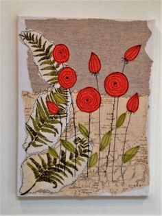 Mixed media machine embroidered 'fabric flowers standing proud' on box canvas by TillyBellaTextiles on Etsy https://www.etsy.com/listing/252913680/mixed-media-machine-embroidered-fabric