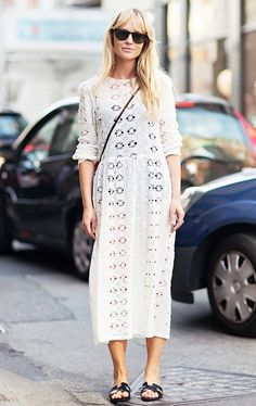 Long sleeved, high neck white crochet style white maxi | Image via whowhatwear.com