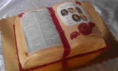 Bible Cake - I finally got to use my edible image printer! This was for a friends mom who loves her bible...We used the page from the bible with her favorite verse, then the other side has her 5 children, I love how this came out!