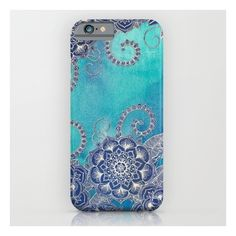 Mermaid's Garden - Navy & Teal Floral On Watercolo… iPhone 6s Case ($35) ❤ liked on Polyvore featuring accessories, tech accessories and iphone & ipod cases