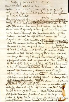 Abraham Lincoln Autopsy Notes Reveal The Horror Of An Assassin's Gunshot -  Here are the writings of Dr. Joseph Janvier Woodward, with a transcript below: