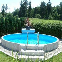 Future Pool round pool set Fun 420 x 120 cm - Piscina Above Ground Pool Landscaping, Above Ground Pool Decks, Backyard Pool Landscaping, Above Ground Swimming Pools, In Ground Pools, Landscaping Ideas, Backyard Ideas, Terrace Ideas, Oberirdische Pools