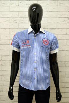 0ee70a85c7ec28 Camicia Blu Uomo PAUL & SHARK Maglia Shirt Manica Corta Fantasia Righe  ...