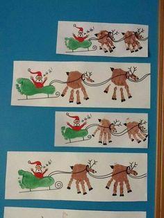 Holiday Handprint and Footprint Art: Handprint Reindeer Art with Footprint Sleigh