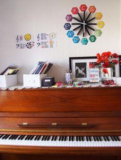 Piano studio decor.  Cheap and creative ideas.