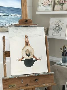 Original acrylic paintings by Lois Mantak make stunning wall art for beach lovers. This x canvas features a female sunbather relaxing on a sun drenched beach shaded with a big straw hat! Watercolor Paintings For Beginners, Watercolor Art, Beginner Painting, Oil Painting Abstract, Acrylic Paintings, Pour Painting, Oil Paintings, Painting Art, Illustration Art Drawing