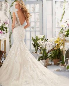 Lace gown covered in swavorski crystals with a v neck front and v back, Marry & Tux Bridal, Marry & Tux Bridal Shoppe, Marry & Tux Nashua, NH, Marry & Tux