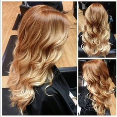 Copper to strawberry blonde bayalage / ombré with beach waves.