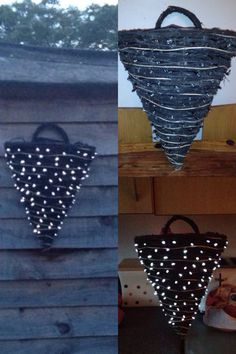 Hanging baskets with outdoor solar fairy lights pushed through weave then stuff basket with black bin bag can be used then for plants or just hung so at night it twinkles leave solar panel in direct sunlight no need for battery's or power cables ideal on summer nights or beautiful on dark winter nights adds to Christmas decorations outside