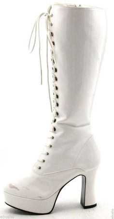 FUNTASMA EXOTICA womens Boots Size 7 white patent platform costume dancer tall #Funtasma #FashionKneeHigh @ebay
