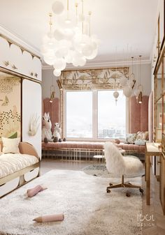 Children's room for a girl from our project Krestovskiy de luxe. Trends of children's bedroom to cre.