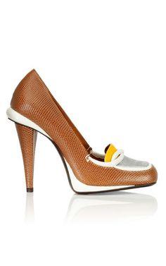 FENDI Tan Lizard High Heel Loafer