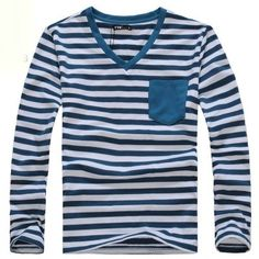 The spring clothing new style 2013 gentlemen long sleeve T-shirt V collar practices moral culture the leisure big code Han version sailor's shirt stripe T-shirt male tide  $33.39