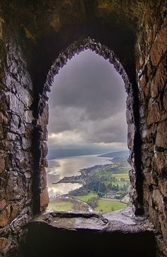 The view from the Duke of Argyll's watch tower above Inveraray castle. Dun Na Cuiache, Loch Fyne. The view from the Duke of Argyll's watch tower above Inveraray castle. Dun Na Cuiache, Loch Fyne. Beautiful World, Beautiful Places, Beautiful Pictures, Beautiful Scenery, Inveraray Castle, Loch Fyne, Window View, Abandoned Places, Architecture