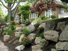 rock garden rock garden retaining wall, via precision landscape. Landscaping With Boulders, Landscaping A Slope, Landscaping Retaining Walls, Landscaping Supplies, Landscaping Ideas, Luxury Landscaping, Landscaping Software, Boulder Retaining Wall, Garden Retaining Wall