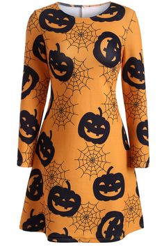 $13.30 Halloween Pumpkin Lantern Print Swing Dress