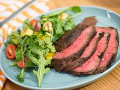 Get Molasses Grilled London Broil with Chopped Grilled Summer Salad Recipe from Food Network