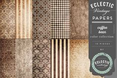 """This 10 piece pack of papers are printable at 8.5"""" x 11"""" at 300 ppi. This lovely Coffee Bean color collection features a variety of stripe, houndstooth, and damask textured patterns in neutrals and br"""
