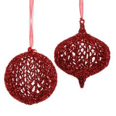 "Glittered Mesh Christmas Ornament Set of 2  2 Assorted styles Set includes one of each style Red Round and onion shaped Made of Plastic Measures 5""  RAZ 2013 Merry Mistletoe Collection"