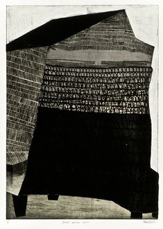 'Black Bottom Fort' / etching, aquatint, collage -by Kim Van Someren Painting & Drawing, Painting Prints, Art Prints, Paintings, Lino Prints, Encaustic Painting, Block Prints, Black And White Abstract, White Art
