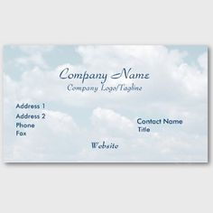 'BLUE SKIES' BUSINESS CARD, by The Flying Pig Gallery on Zazzle (lizadeyphoto) - This 'Blue Skies' Business Card is ideal for many kind of businesses, including any businesses emphasizing the outdoors or a healthful, clean lifestyle. Also appropriate for any company or position with a spiritual or inspirational aspect. Text may be customized according to your needs.