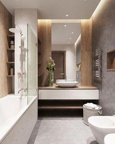 54 Premium Modern White Bathroom with White Cabinets Ideas - HomeCNB Bathroom Spa, Diy Bathroom Decor, Modern Bathroom Design, Bathroom Styling, Bathroom Ideas, Master Bathroom, Bathroom Lighting, Bathroom Designs, Bathroom Organization