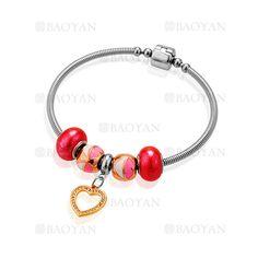 pulsera de abalorios rojas con corazon en acero para mujer-SSBTG624785