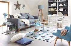 Salon Maison du monde Scandinave/Sixties - Gris Bleu ciel, lavande ...