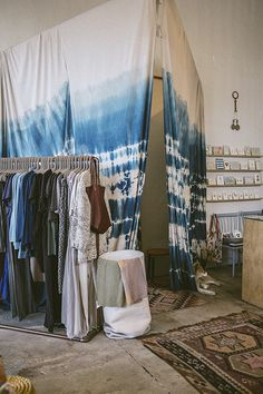 Indigo dyed shibori curtains, General Store in Venice | Fine Little Day blog