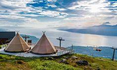 Traditional kåta tents near Narvik, Norway