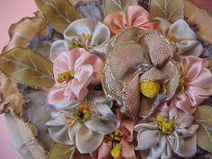 Antique Vintage1920s French Silk Ribbon Flower Powder Puff Original Box Perfumed