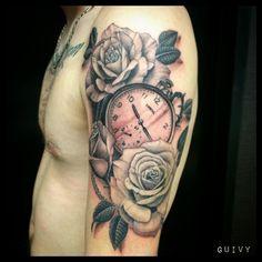 Tattoo by Guivy / Martigny / Geneve / Switzerland  #Old #Pocket #Watch #Roses #Montre #A #Gousset #Realistic #Tatouage