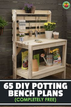 65 DIY Potting Bench Plans (Completely Free) - If you're tired of starting seeds on the kitchen counter, use these free, DIY potting bench plans to build your own outdoor potting station! Outdoor Potting Bench, Pallet Potting Bench, Potting Tables, Pallet Work Bench, Work Bench Diy, Rustic Potting Benches, Furniture Plans, Pallet Furniture, Furniture Movers
