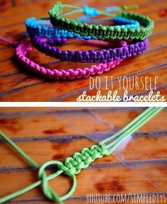 Learn how to make stackable square knot/cobra stitch bracelets. Pin now, watch later! Learn how to make stackable square knot/cobra stitch bracelets. Pin now, watch later! Square Knot Bracelets, Bracelets Diy, Bracelet Knots, Stackable Bracelets, Macrame Bracelets, Survival Bracelets, Anklet Bracelet, Diy Bracelets With String, Silver Bracelets