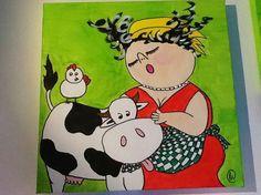 Dikke dames met koe
