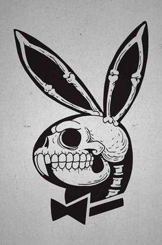 Playboy Bunny Tattoo, Bunny Tattoos, Skull Tattoos, Playboy Logo, Hase Tattoos, Tattoo Drawings, Art Drawings, Tattoo Sketches, Skull Art