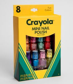 Crayola Mini Nail Polish Set  Our childhoods were defined by Crayola crayons. They were status symbols, learning tools and just darn fun. This super cute box of mini nail polish makes us wax nostalgic, but also provides us with some seriously colorful nail situations. Includes eight bottles in your favorite colors. Cool!