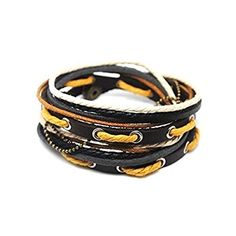 Adjustable Bracelet Cuff made of Brown Leather Multicolour Ropes and metal Woven Snapper 283S by COOLLA -- Awesome products selected by Anna Churchill